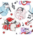 seamless pattern with cute cartoon musical kittens vector image