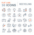 set flat line icons recycling vector image vector image