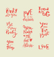 set of lettering inscriptions about love vector image