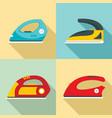 smoothing iron drag icons set flat style vector image