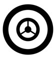 steering wheel icon black color in circle vector image vector image