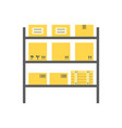 storagerows shelves with boxes vector image