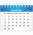 Stylish calendar page for December 2013 vector image