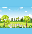 summer landscape with trees flowers and fence vector image vector image