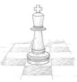the king chess piece on a chess board hand drawn vector image vector image
