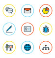 trade icons colored line set with identification vector image vector image