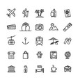 travel related set - 25 light outline icons vector image