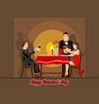 two lovers have a romantic evening in a restaurant vector image vector image