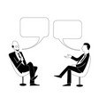 two men are talking black outline image vector image vector image