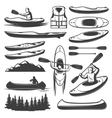 Vintage Kayaking Elements Set vector image vector image