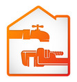 water tap and wrench symbol for repair vector image vector image