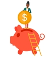 Woman putting coin in piggy bank vector image vector image