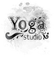 yoga studio design template over ink or watercolor vector image