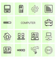 14 computer icons vector image vector image