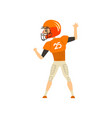 american football player wearing uniform back vector image vector image