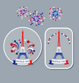 bastille day badges eiffel tower and fireworks vector image