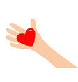 big hand arm holding red shining heart shape sign vector image vector image