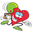 Cartoon Heart Playing Football vector image vector image