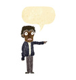 cartoon terrified man pointing with speech bubble vector image vector image
