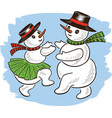 cheerful snowmen are dancing in christmas time vector image vector image