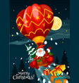 christmas card of santa with gift in air balloon vector image vector image