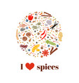 cooking spices on bauble shape images vector image vector image