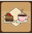 delicious coffee and cake vector image