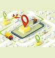 delivery app isometric website template vector image