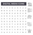 digital media line icons signs set vector image vector image