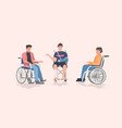 disabled men sitting in wheelchair disability vector image