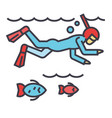 diving in the sea with fish scuba diving vector image vector image