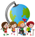 educational theme with kids and big globe vector image vector image