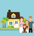 family home with tree garden image vector image