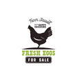 farm fresh eggs poster vintage rustic emblem with vector image