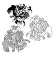 flowers peonies in black and white style vector image vector image