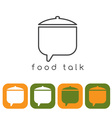 food talk concept with pot and web icons vector image vector image