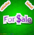 For sale icon sign Symbol chic colored sticky vector image