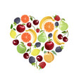 fruit set in the shape of a heart vector image vector image