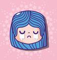 girl head cryng emoji face message vector image