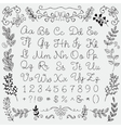 Hand Drawn English Alphabet Letters and Numbers vector image vector image