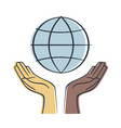 hand of different colors holding earth save earth vector image