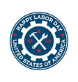 happy labor day round blue stamp design template vector image vector image