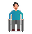 happy wheelchair boy icon flat style vector image