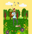 hiking in wild nature sporty man hob vector image vector image
