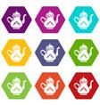 kettle tea icons set 9 vector image vector image