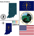 map indiana with seal vector image