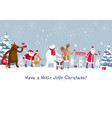 merry christmas party in forest vector image vector image