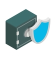 Metal shield with safe lock icon vector image