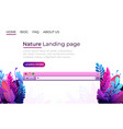 nature landing page design internet browser vector image vector image