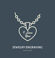 pendant on chain jewelry flat line vector image vector image